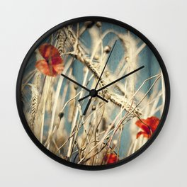 chAos one - red poppies in wheat field Wall Clock