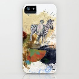 It May Go Right.. It May Go Wrong - Zebra Mixed Media Collage Art iPhone Case