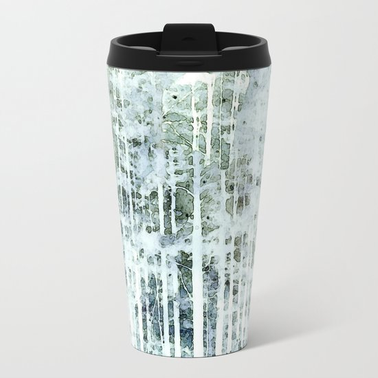 Painterly Woodlands Abstract Metal Travel Mug