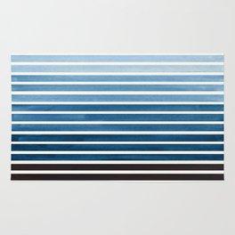 Watercolor Gouache Mid Century Modern Minimalist Colorful Green Blue Stripes Rug