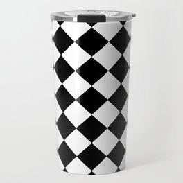 SMALL BLACK AND WHITE HARLEQUIN DIAMOND PATTERN Travel Mug