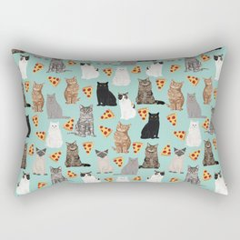 Cats with Pizza slices cheesy food funny cat lover gifts by pet friendly pet portraits Rectangular Pillow