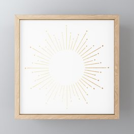 Sunburst Gold Copper Bronze on White Framed Mini Art Print