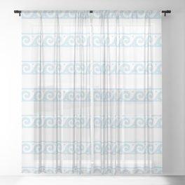 Mint blue Greek wave pattern Sheer Curtain