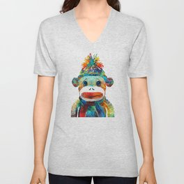 Sock Monkey Art - Your New Best Friend - By Sharon Cummings Unisex V-Neck