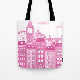 London Skyline Pink Tote Bag