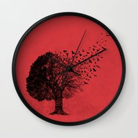 autumn Wall Clocks featuring Autumn Birds by laurxy