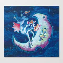 Cow over Moon Canvas Print