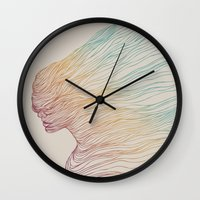 gradient Wall Clocks featuring FADE by Huebucket
