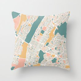 Manhattan New York Map Art Throw Pillow