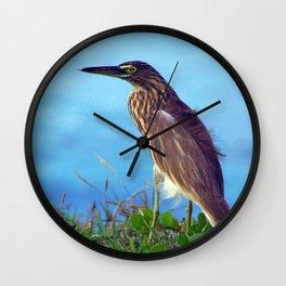 Pond Heron on Grass Varkala Wall Clock