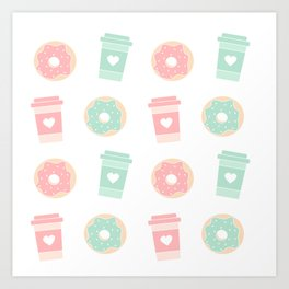 cute colorful donuts and coffee pattern background illustration Art Print