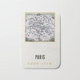 Vintage Paris Gold Foil Location Coordinates with historical map Bath Mat