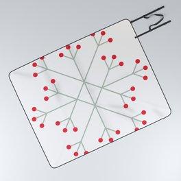 Mod Snowflake Winter Berries Picnic Blanket