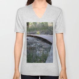 Wooden Pathway Through Desert Oasis 3 Coachella Valley Wildlife Preserve Unisex V-Neck