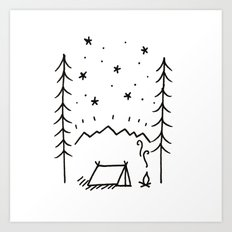 Campsite in the Mountains Art Print