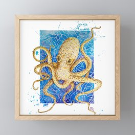 La pieuvre - Contemporary Watercolor Octopus Painting Framed Mini Art Print