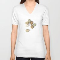 eggs V-neck T-shirts featuring Eggs by Wild Poetry
