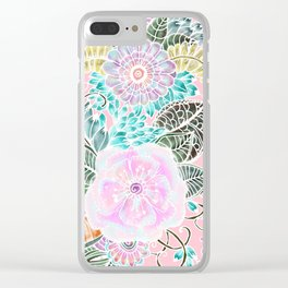Blush pink lavender green white watercolor hand painted flowers Clear iPhone Case