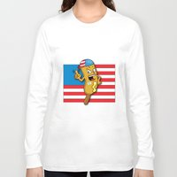 chad wys Long Sleeve T-shirts featuring Chad the Ornery Corndog by Alex Dutton