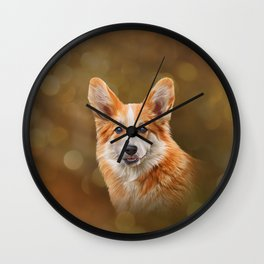 Drawing Dog breed Welsh Corgi Wall Clock