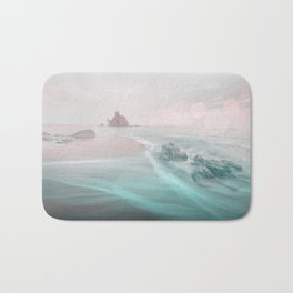 Dreamy Beach In Pink And Turquoise Bath Mat