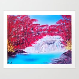 Crimson Cascade Art Print