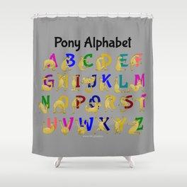 Pony Alphabet Chart, Colourful Shower Curtain