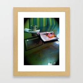 Mom's thursday night tea and a book Framed Art Print