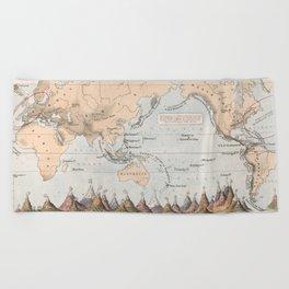 Vintage Volcano and Earthquake World Map (1852) Beach Towel