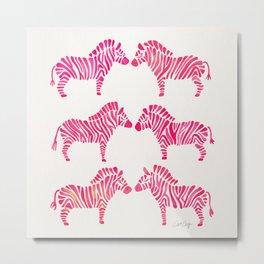 Zebras – Pink Palette Metal Print