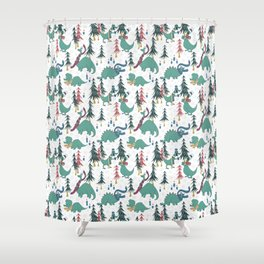 Dinosaur Hygge Shower Curtain