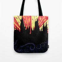 hogwarts Tote Bags featuring Hogwarts by Samantha Mask