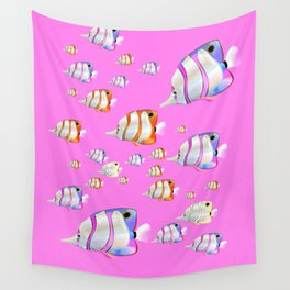 Tropical fish pink edition Wall Tapestry