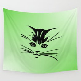 Green Cat Face Wall Tapestry