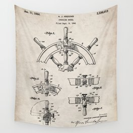 Ships Wheel Patent - Boat Wheel Art - Antique Wall Tapestry