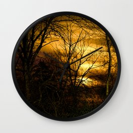 Winter's Sunset Wall Clock