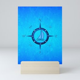 Sailboat And Compass Rose Mini Art Print