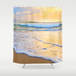 San Gregorio Beach Sunset Shower Curtain