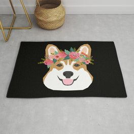 Corgi head floral crown dog breed gifts for welsh corgis Rug