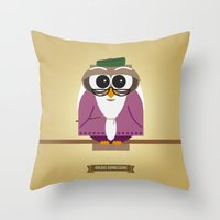 dumbledore Throw Pillows featuring Owlbus Dumbledore by Famous Owls