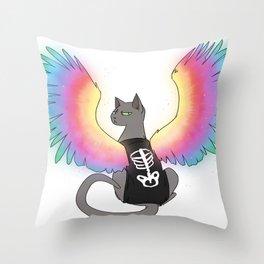 Magical Rainbow Cat Throw Pillow