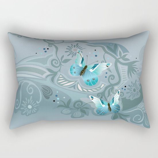 Butterfly tangle, colony blue Rectangular Pillow