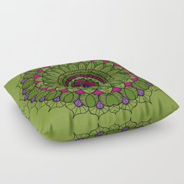 Bohemian Mandala in Green with Pink and Purple Floor Pillow