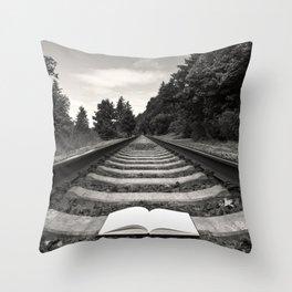 Bellingham Railroad Tracks, Washington Forest, Book Throw Pillow