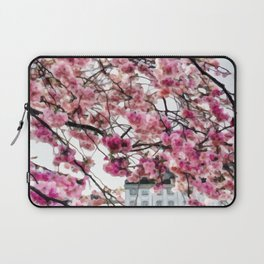 Painting of a Colourful Spring Season under the Fully Bloomed Cherry Blossoms Laptop Sleeve