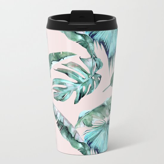 Tropical Palm Leaves Turquoise Green Coral Pink Metal Travel Mug