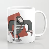 planet of the apes Mugs featuring Caesar - Dawn of the Planet of the Apes Cartoon by Aaron Lecours
