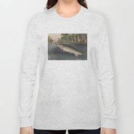 Vintage River Fishing Illustration (1874) Long Sleeve T-shirt