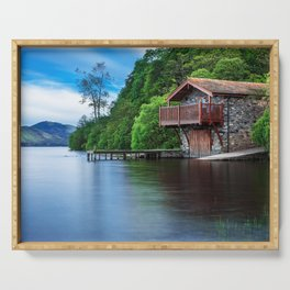 Smooth as Glass Lake and Boathouse Serving Tray